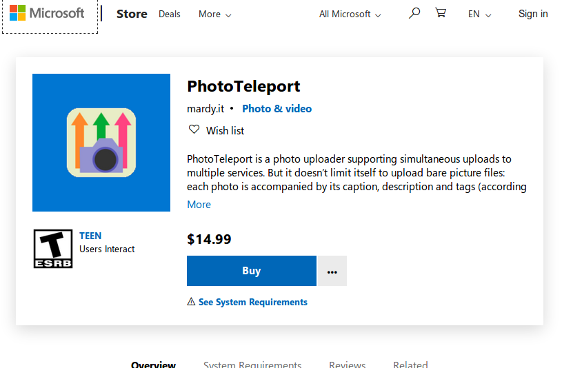 PhotoTeleport in the Microsoft Store